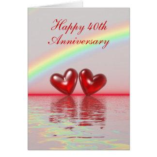 40.o Corazones de rubíes del aniversario (altos) Felicitación