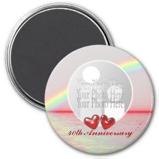 40.o Corazones de rubíes del aniversario (marco) d Imán Redondo 7 Cm