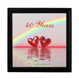 40.o Corazones del rubí del aniversario Cajas De Joyas