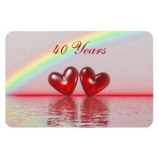 40.o Corazones del rubí del aniversario Imanes De Vinilo