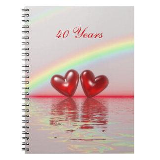 40.o Corazones del rubí del aniversario Libreta Espiral