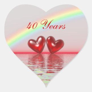 40 o Corazones del rubí del aniversario Calcomanías Corazones