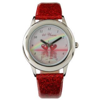 40.o Corazones del rubí del aniversario Reloj