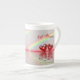 40 o Corazones del rubí del aniversario Tazas De Porcelana