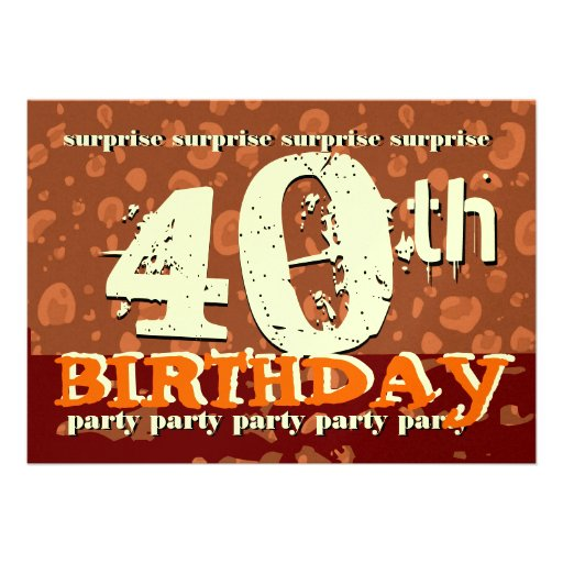 40.o Crema anaranjada del chocolate del cumpleaños Invitacion Personalizada