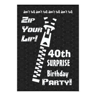"""40.o Cremallera de la fiesta de cumpleaños de la Invitación 5"""" X 7"""""""