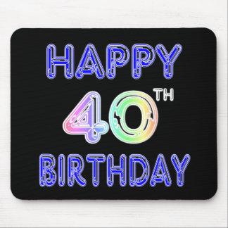 40.o Cumpleaños con la fuente del impulso Alfombrillas De Ratón