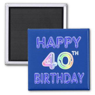 40.o Cumpleaños con la fuente del impulso Imán Cuadrado