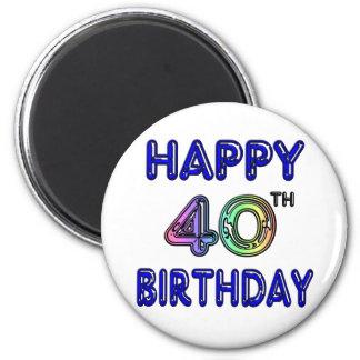 40.o Cumpleaños con la fuente del impulso Imán Redondo 5 Cm