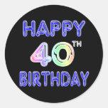 40.o Cumpleaños con la fuente del impulso Etiqueta Redonda