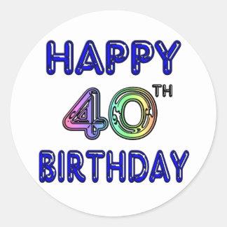 40.o Cumpleaños con la fuente del impulso Etiquetas Redondas