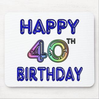 40.o Cumpleaños con la fuente del impulso Tapetes De Raton