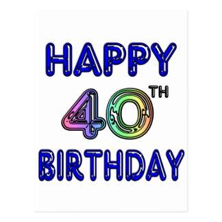 40.o Cumpleaños con la fuente del impulso Tarjeta Postal