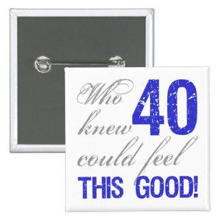 40.o cumpleaños de la diversión pin cuadrado