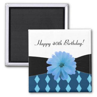40.o cumpleaños de la flor azul negra de la cinta imán cuadrado