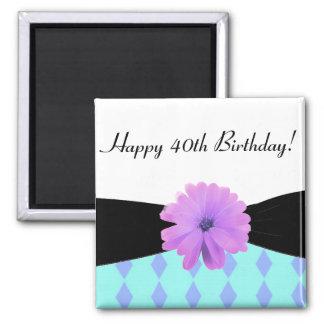 40.o cumpleaños de la flor púrpura negra de la imán cuadrado