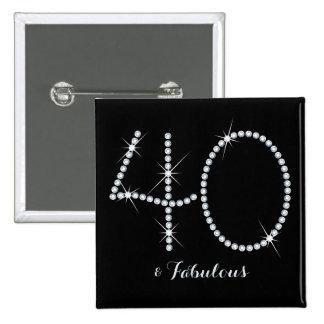 40.o cumpleaños del falso diamante artificial pin cuadrado