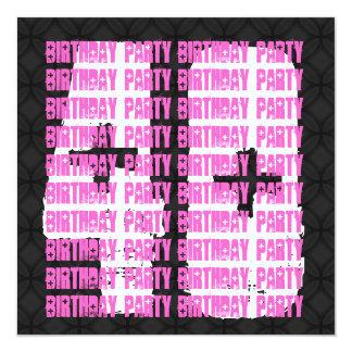 """40.o cumpleaños del Grunge negro y rosado para su Invitación 5.25"""" X 5.25"""""""