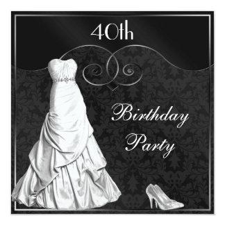 """40.o cumpleaños del vestido de la plata blanca invitación 5.25"""" x 5.25"""""""