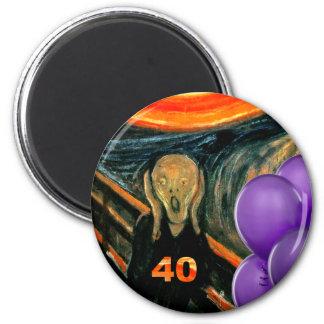 40.o cumpleaños divertido imán redondo 5 cm
