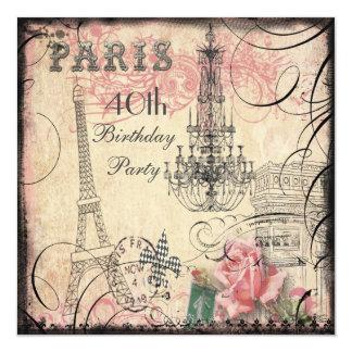 """40.o cumpleaños elegante de la torre Eiffel y de Invitación 5.25"""" X 5.25"""""""