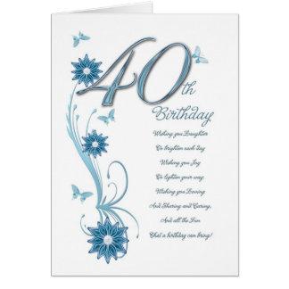 40.o cumpleaños en trullo con las flores y la tarjeta de felicitación