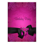 40.o cumpleaños fabuloso negro y rosado elegante invitación 12,7 x 17,8 cm