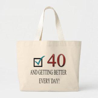 40.o cumpleaños feliz bolsas lienzo