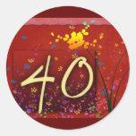 ¡40.o cumpleaños feliz! etiqueta redonda