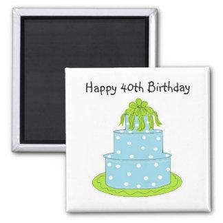 40.o cumpleaños feliz imán cuadrado