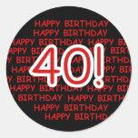 40.o cumpleaños feliz pegatina redonda