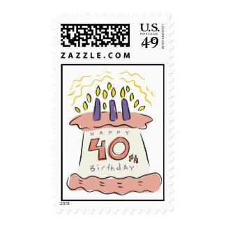 ¡40.o cumpleaños feliz! sellos postales