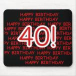 40.o cumpleaños feliz tapete de ratones