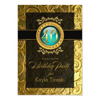 """40.o cumpleaños grabado en relieve encanto invitación 5"""" x 7"""""""