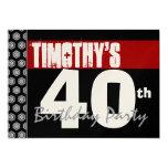 40.o Cumpleaños moderno para él negro blanco rojo Invitación 12,7 X 17,8 Cm