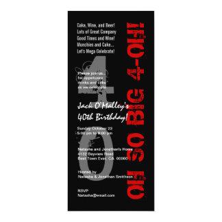 """40.o Cumpleaños oh 4 oh W1482 altos negros rojos Invitación 4"""" X 9.25"""""""