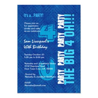 """40.o Cumpleaños para él azul real y aguamarina Invitación 5"""" X 7"""""""