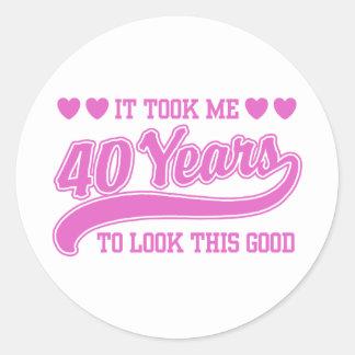 40.o Cumpleaños Pegatina Redonda
