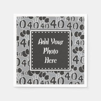 40.o cumpleaños personalizado de la foto servilletas desechables