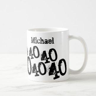 40.o cumpleaños personalizado del negro taza básica blanca