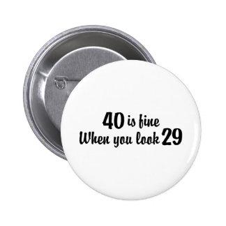 40 o Cumpleaños Pin