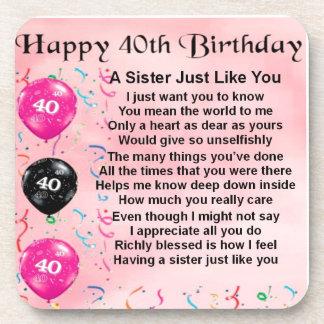 40.o cumpleaños - poema de la hermana posavasos de bebidas