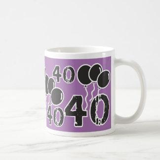 40.o cumpleaños PÚRPURA y NEGRO - 40 años de Bday Tazas De Café