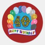 40.o Diseño de los globos del cumpleaños Pegatinas Redondas