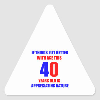 40.o Diseño del cumpleaños Pegatina Triangular