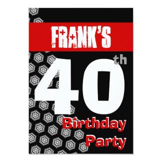 """40.o El negro blanco rojo moderno del cumpleaños Invitación 5"""" X 7"""""""