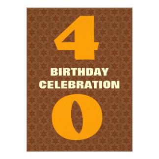 40 o El oro Brown de la fiesta de cumpleaños prota Invitaciones Personales