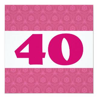 """40.o El rosa festivo de la fiesta de cumpleaños Invitación 5.25"""" X 5.25"""""""