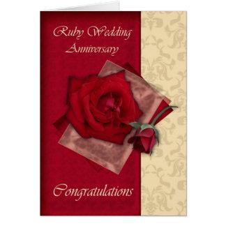 40.o Enhorabuena de rubíes del aniversario de boda Tarjeta De Felicitación