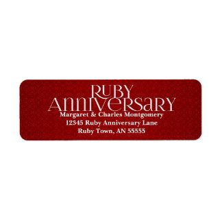 40.o Etiqueta de rubíes de Avery del aniversario Etiqueta De Remite